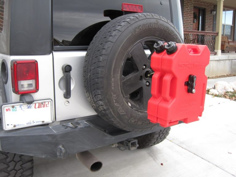 Photos of a RotoPax Fuel Can Spare Tire Mount Wrangler JK