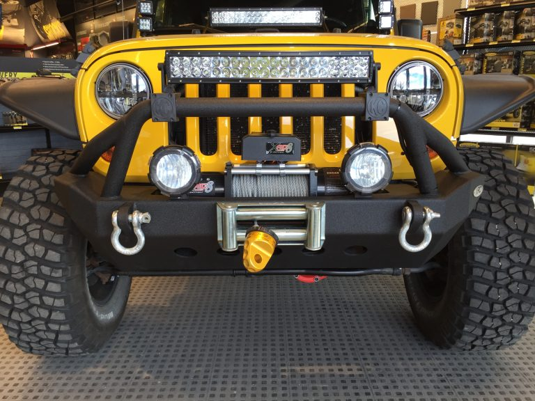 Yellow Built Out 2 Door Wrangler JK and Lots of LED Lights